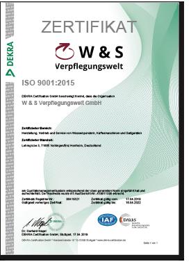 W & S Verpflegungswelt - Zertifikat